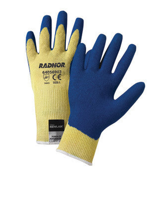 Radnor Small Yellow 10 Gauge Kevlar String Knit Gloves With Blue Latex Crinkle Finish Palm And Thumb Coating