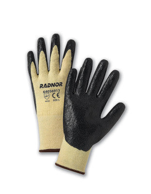 Radnor Large Yellow Kevlar/Lycra Work Gloves With Black Nitrile Coated Palms