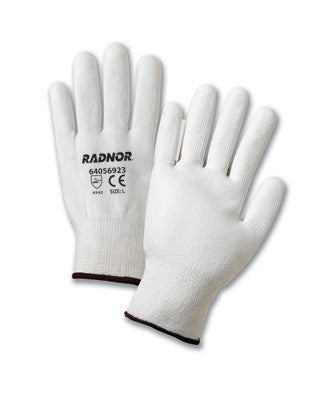 Radnor Medium White Polyurethane Palm Coated HPPE Gloves With 13 Gauge Seamless Liner