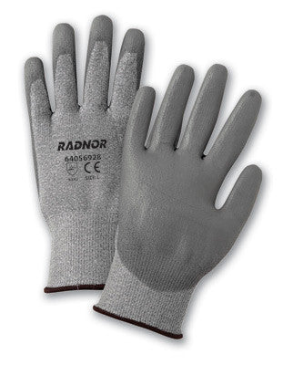 Radnor Medium Gray Polyurethane Palm Coated HPPE Gloves With 13 Gauge Seamless Liner