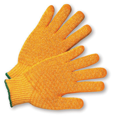 Radnor Largel Orange Medium Weight Acrylic/Polyester Ambidextrous String Gloves With Double Sided PVC Crisscross Honeycomb Pattern Coating