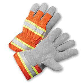 Radnor Large Select Shoulder Leather Palm Gloves With Rubberized Safety Cuff, Fluorescent Orange Polyester Back And Silver Reflective Tape On Knuckles And Cuff