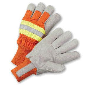 Radnor Large Orange And Gray Pigskin And Polyester Thinsulate Lined Cold Weather Gloves With Wing Thumb And Knit Wrist