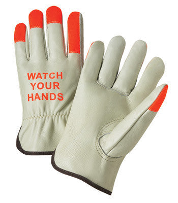 "Radnor Large Select Grain Cowhide Unlined Drivers Gloves With Keystone Thumb, Shirred Elastic Cuff, Hi-Vis Orange Fingertips And  ""Watch Your Hands"" Logo On Back"
