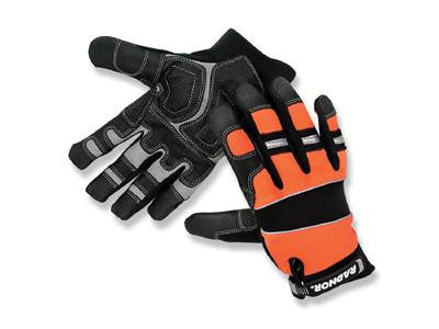 Radnor Large Black And Hi-Viz Orange Premium Full Finger Sueded Leather And Spandex Mechanics Gloves With Hook and Loop Cuff, Spandex Back, Neoprene Knuckle And Wrist Pad, Suede Palm, Kevlar Patch In Thumb Crotch And PVC Grip Patches On Palm And Fingers