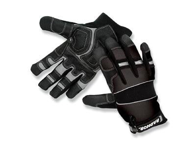 Radnor Medium Black Premium Full Finger Sueded Leather And Spandex Mechanics Gloves With Hook and Loop Cuff, Spandex Back, Neoprene Knuckle And Wrist Pad, Suede Palm, Kevlar Patch In Thumb Crotch And PVC Grip Patches On Palm And Fingers