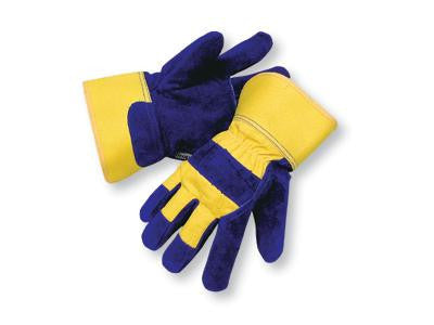Radnor Large Blue And Yellow Leather And Canvas Thinsulate Lined Cold Weather Gloves With Safety Cuffs And Waterproof Barrier