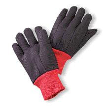 Radnor Large Brown 13 Ounce 100% Cotton Jersey Gloves With Red Knitwrist And Red 100% Cotton Fleece Lining
