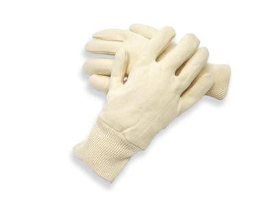 Radnor Men's White 7 Ounce Reversible 100% Cotton Jersey Gloves With Knitwrist
