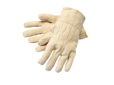 Radnor Men's White 8 Ounce Cotton/Polyester Blend Cotton Canvas Gloves With Band Top Cuff