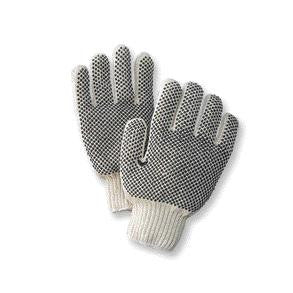Radnor Ladies Natural Medium Weight Polyester/Cotton Ambidextrous String Gloves With Knit Wrist And Double Side Black PVC Dot Coating
