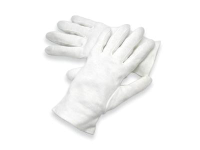 Radnor Medium White Heavy Weight Seamless Knit 100% Cotton Dress Inspection Gloves With Open Cuff