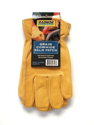 Radnor Large Premium Grain Double Leather Palm Cowhide Unlined Drivers Gloves With Keystone Thumb, Slip-On Cuff, Double Stitched Hem And Shirred Elastic Back (Carded)