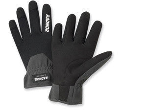 Radnor Large Black And Gray Full Finger Synthetic Leather And Spandex Slip-On Mechanics Gloves With Slip-On Cuff And Spandex Back