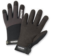 Radnor Large Black And Gray Full Finger Synthetic Leather By Clarion And Spandex Light-Duty Mechanics Gloves With Hook And Loop Cuff, Spandex Back And Reinforced Fingertips