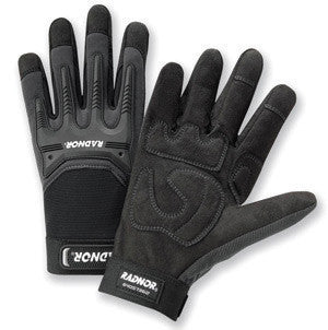Radnor Medium Black And Gray Full Finger Synthetic Leather By Clarion And Spandex Impact Resistant Mechanics Gloves With Hook And Loop Cuff, Spandex Back, Reinforced Fingertips And Saddle, EVA Foam Palm Padding And TPR Knuckle