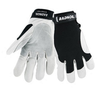 Radnor 2X Full Finger Grain Goatskin Mechanics Gloves With Hook And Loop Cuff, Leather Palm And Thumb Reinforcement, Spandex Back And Reinforced Fingertips
