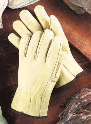 Radnor Large Grain Cowhide Unlined Drivers Gloves With Straight Thumb, Slip-On Cuff, Color-Coded Hem And Shirred Elastic Back