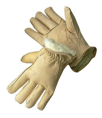 Radnor Large Tan Leather Thinsulate Lined Cold Weather Gloves With Keystone Thumb, Safety Cuffs, Color Coded Hem And Shirred Elastic Wrist