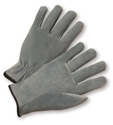 Radnor Large Split Cowhide Unlined Drivers Gloves With Straight Thumb, Slip-On Cuff, Color-Coded Hem And Shirred Elastic Back