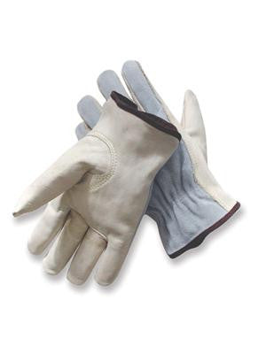 Radnor 2X Grain Palm Split Cowhide Back  Leather Unlined Drivers Gloves With Keystone Thumb, Slip-On Cuff, Color-Coded Hem And Shirred Elastic Back