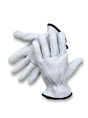 Radnor Large Premium  Goatskin Unlined Drivers Gloves With Keystone Thumb, Slip-On Cuff, Color-Coded Hem And Shirred Elastic Back
