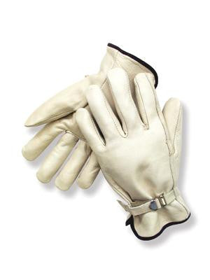 Radnor Large Grain Cowhide Unlined Drivers Gloves With Straight Thumb, Wrist Strap Cuff And Color-Coded Hem