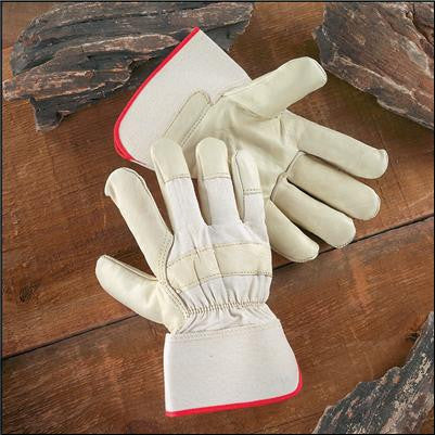 Radnor Large Premium Grain Cowhide Leather Palm Gloves With Safety Cuff, Natural White Canvas Back And Wing Thumb