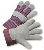 Radnor Small Economy Grade Split Leather Palm Gloves With Safety Cuff, Striped Canvas Back And Reinforced Knuckle Strap, Pull Tab, Index Finger And Fingertips