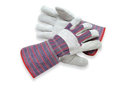 Radnor Large Economy Grade Split Leather Palm Gloves With Gauntlet Cuff, Striped Canvas Back And Reinforced Knuckle Strap, Pull Tab, Index Finger And Fingertips