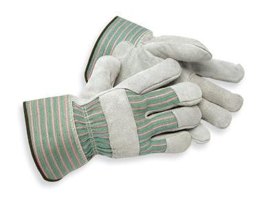 Radnor Large Shoulder Grade Split Leather Palm Gloves With Safety Cuff, Striped Canvas Back And Leather Reinforced Knuckle Strap, Pull Tab, Index Finger And Fingertips