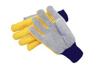 Radnor Large Select Shoulder Grade Split Leather Palm Gloves With Navy Blue Knit Wrist, Heavy Yellow Canvas Back And Straight Thumb
