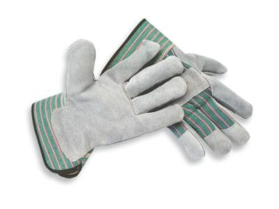 Radnor Medium Select Shoulder Grade Split Leather Palm Gloves With Rubberized Safety Cuff, Striped Canvas Back And Reinforced Knuckle Strap, Pull Tab, Index Finger And Fingertips