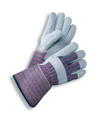 Radnor Large Select Shoulder Grade Split Leather Palm Gloves With Rubberized Gauntlet Cuff, Striped Canvas Back And Reinforced Knuckle Strap, Pull Tab, Index Finger And Fingertips