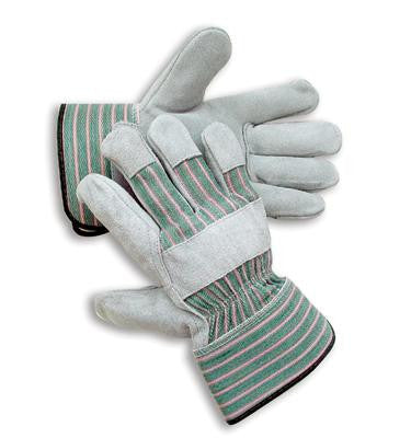 Radnor Medium Premium Select Shoulder Grade Split Leather Palm Gloves With Rubberized Safety Cuff, Striped Canvas Back And Reinforced Knuckle Strap, Pull Tab, Index Finger And Fingertips