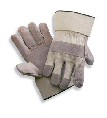 Radnor X-Large Side Split Leather Palm Gloves With Gauntlet Cuff, Duck Canvas Back And Reinforced Knuckle Strap, Pull Tab, Index Finger And Fingertips