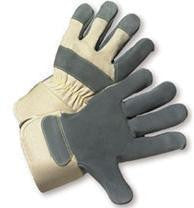 Radnor X-Large Premium Side Split Leather Palm Gloves With Gauntlet Cuff, Duck Canvas Back And Reinforced Knuckle Strap, Pull Tab, Index Finger And Fingertips