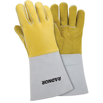 "Radnor Large Gold 14"" Grain Elkskin Foam Lined Welders Glove With Reinforced Straight Thumb And Stiff Cowhide Cuff (Carded)"