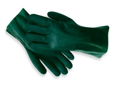 "Radnor Large Green 14"" Sandpaper Grip PVC Glove With Jersey Lining"