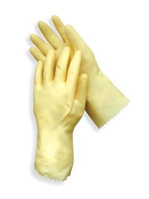 "Radnor Large Amber 12"" Unlined 18 MIL Textured Palm Natural Latex Glove"
