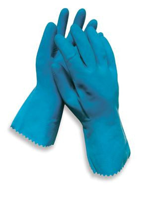 "Radnor Large Blue 12"" Unlined 18 MIL Textured Palm Natural Latex Glove"