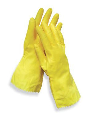 "Radnor Large Yellow 12"" Flock Lined 18 MIL Textured Palm Natural Latex Glove"
