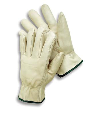 Radnor X-Large Premium Grain Leather Unlined Drivers Gloves With Keystone Thumb, Slip-On Cuff And Color-Coded Hem