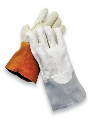 "Radnor Extra Large Gray Unlined Economy Calf Skin MIG/TIG Welders Glove With 4"" Cuff, Kevlar Sewn Reinforced Thumb Strap And Pull"