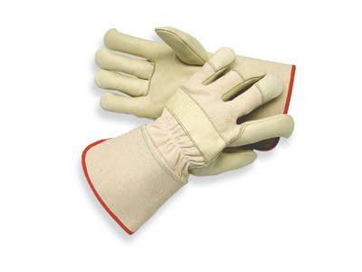 Radnor Large Premium Grain Cowhide Leather Palm Gloves With Gauntlet Cuff, Natural White Canvas Back And Reinforced Knuckle Strap, Pull Tab, Index Finger And Fingertips