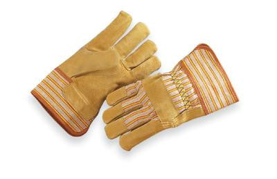 Radnor Large Premium Grade Split Pigskin Leather Palm Gloves With Rubberized Safety Cuff, Striped Canvas Back And Reinforced Knuckle Strap, Pull Tab, Index Finger And Fingertips