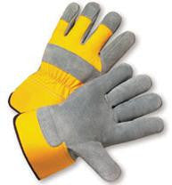 Radnor Small Premium Select Shoulder Grade Split Leather Palm Gloves With Yellow Rubberized Safety Cuff, Heavy Yellow Canvas Back And Reinforced Knuckle Strap, Pull Tab, Index Finger And Fingertips