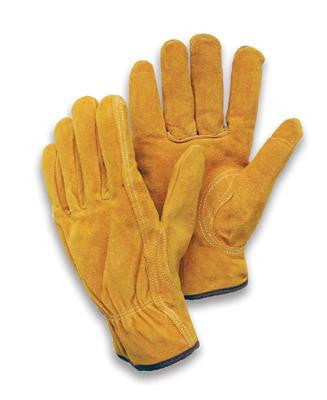 Radnor Large Leather Unlined Drivers Gloves With Keystone Thumb, Slip-On Cuff, Color-Coded Hem And Shirred Elastic Back