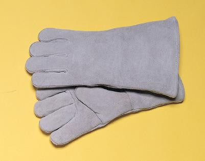 "Radnor Large Pearl Gray 14"" Shoulder Split Cowhide Cotton Sock Lined Welders Gloves With Wing Thumb"