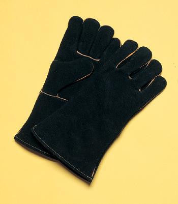 "Radnor Large Black 14"" Select Shoulder Split Cowhide Cotton Sock Lined Welders Gloves With Wing Thumb"